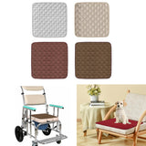 shows Elderly Incontinence Reusable Chair Pad in use on a wheel chair and on a regular chair.