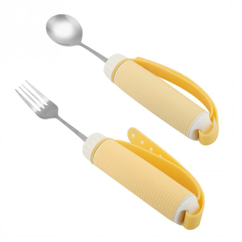 Yellow Flexible Strap-on Cutlery Eating Aid