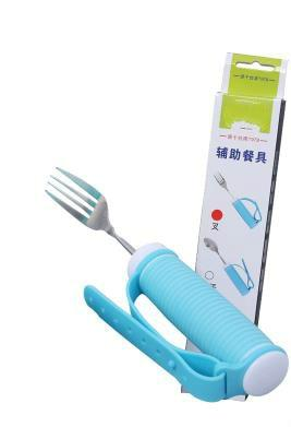 Blue Flexible Strap-on Cutlery Eating Aid