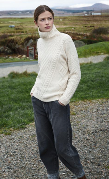 Aran Mock Neck Cable Knit