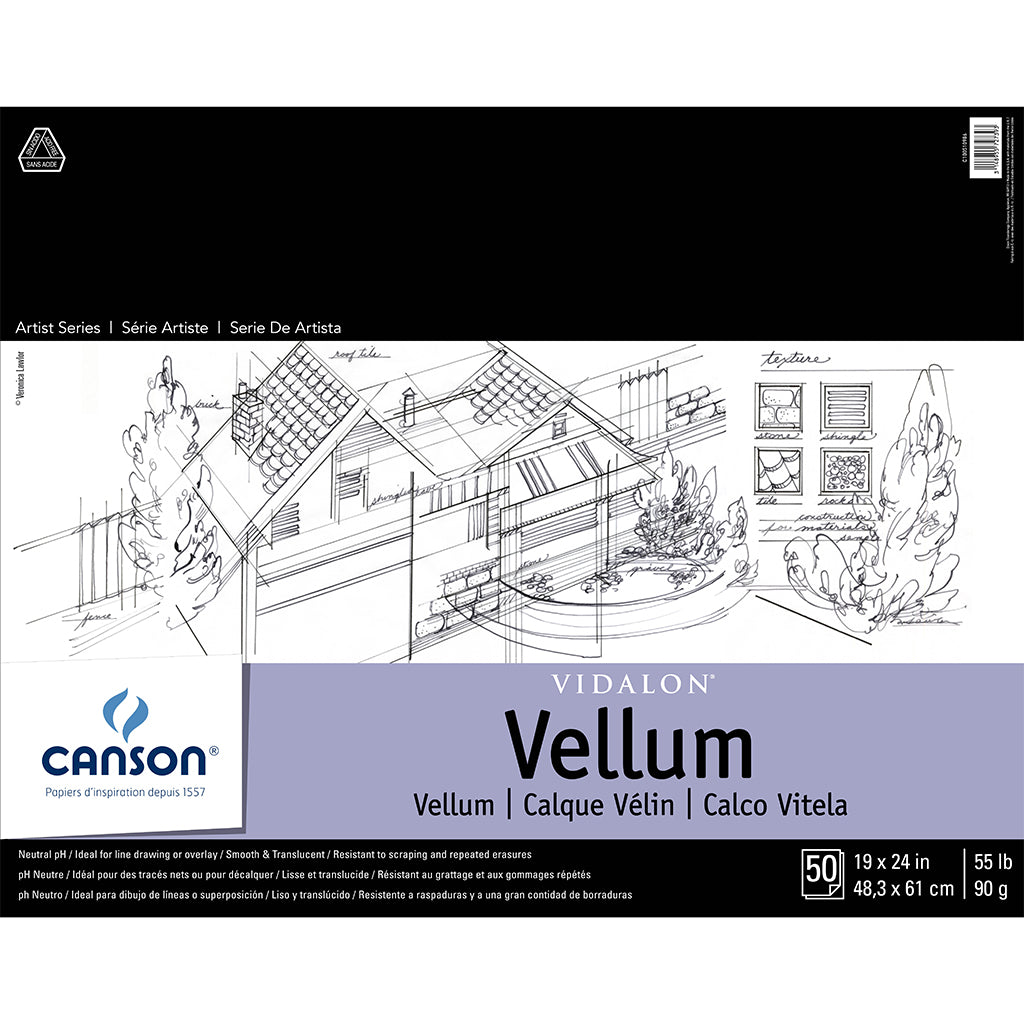 "Canson Vidalon Vellum Translucent Tracing Paper, 19"" x 24"", 50 Sheets"