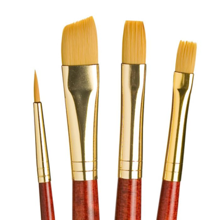 Princeton Real Value Brush Set - Synthetic Hair, Golden Taklon, Short Handle (Set of 4)
