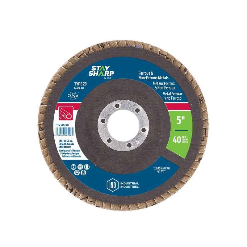 5-inch-x-40-Grit-x-7/8-inch-Wood-&-Metal-Flap-Disc-Type-29-Industrial-Abrasive-Stay-Sharp