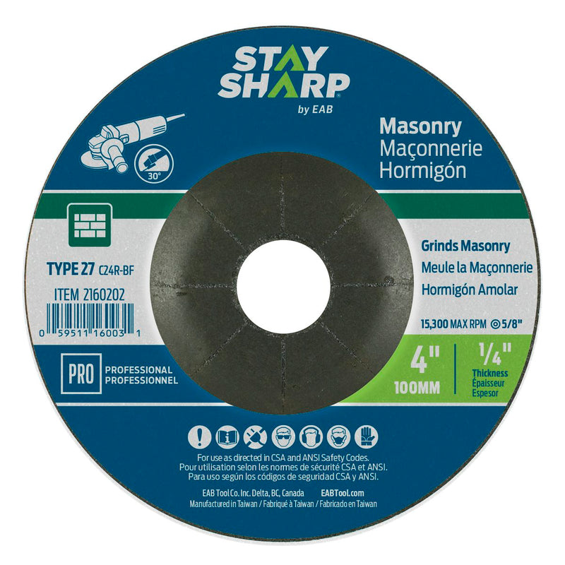 4-inch-x-1/4-inch-x-5/8-inch-Masonry-Depressed-Center-Wheel-Type-27-Professional-Abrasive-Stay-Sharp