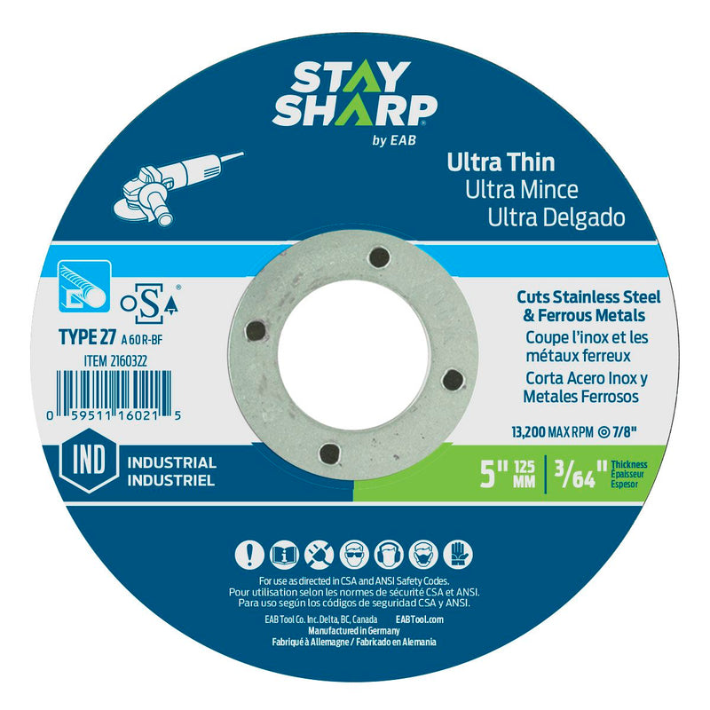 5-inch-x-3/64-inch-x-7/8-inch-Ultra-Thin-Metal-Depressed-Center-Wheel-Type-27-Industrial-Abrasive-Stay-Sharp