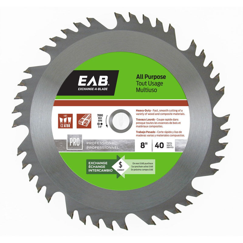 8-inch-x-40-Teeth-Carbide-All-Purpose-Professional-Saw-Blade-Exchangeable-Exchange-A-Blade