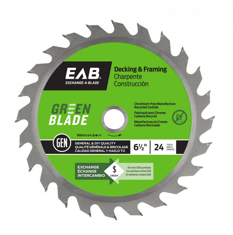 6-1/2-inch-x-24-Teeth-Carbide-Green-Framing-Saw-Blade-Exchangeable-Exchange-A-Blade