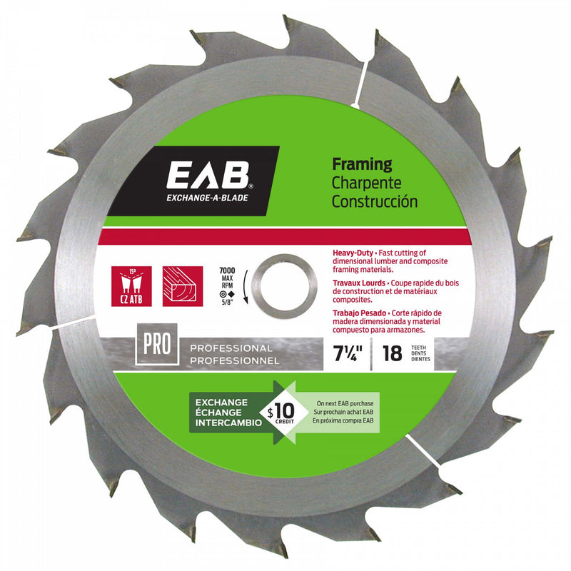 7-1/4-inch-x-18-Teeth-Carbide-Framing-Professional-Saw-Blade-Exchangeable-Exchange-A-Blade