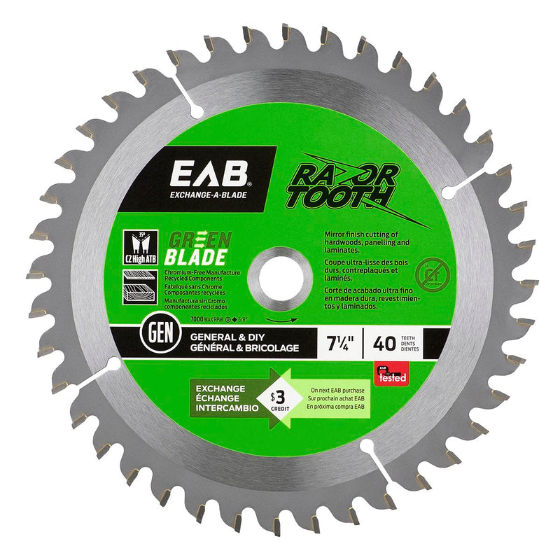 7-1/4-inch-x-40-Teeth-Carbide-Green-RazorTooth-Saw-Blade-Exchangeable-Exchange-A-Blade