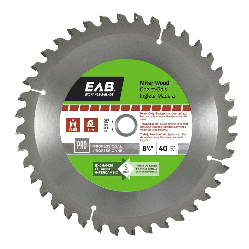 8-1/2-inch-x-40-Teeth-Carbide-Miter-Wood-Professional-Saw-Blade-Exchangeable-Exchange-A-Blade