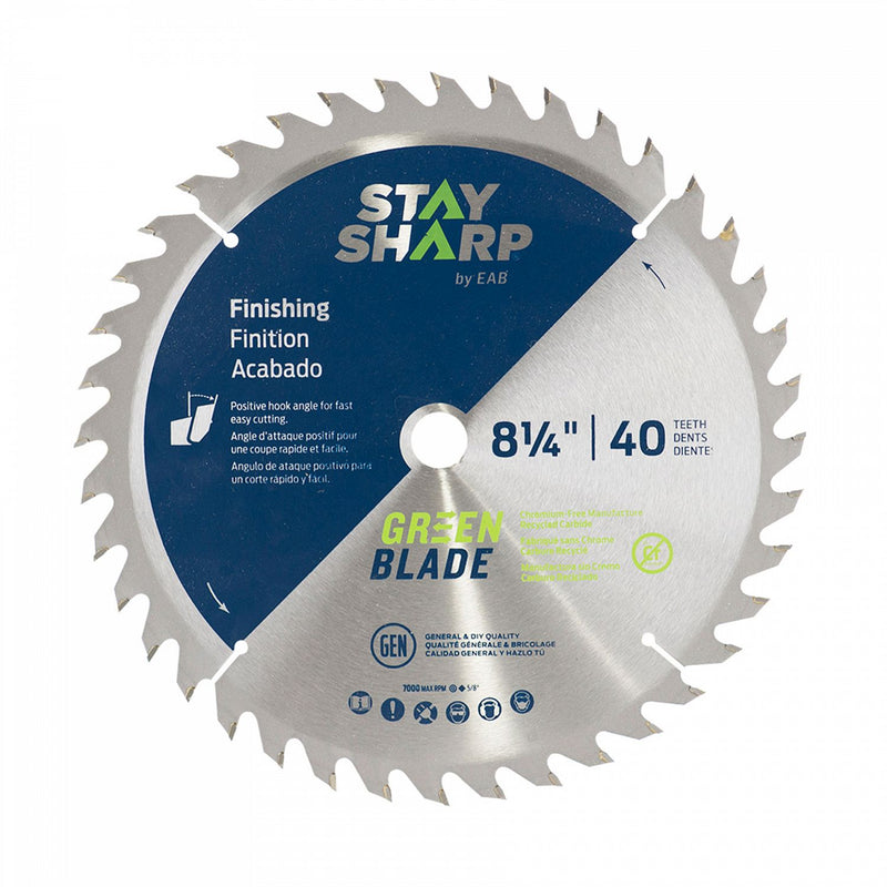 8-1/4-inch-x-40-Teeth-Carbide-Green-Finishing-Saw-Blade-Recyclable-Stay-Sharp