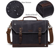 Classic Styled Waxed Canvas and leather Computer Brief Bag - WaxKraft