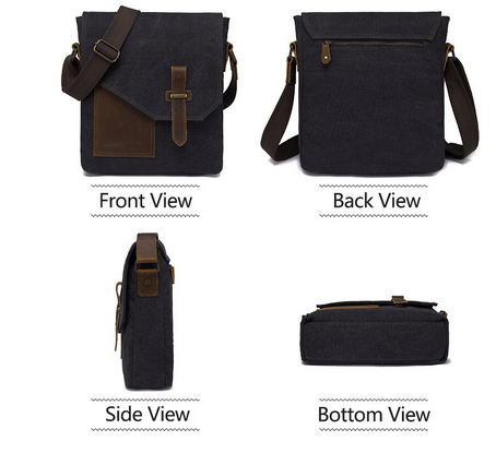 'Off-Center Modern' - Men's Small Vintage Waxed Canvas Messenger Bag - WaxKraft