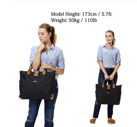 Women Vintage Waxed Canvas Laptop Tote - WaxKraft
