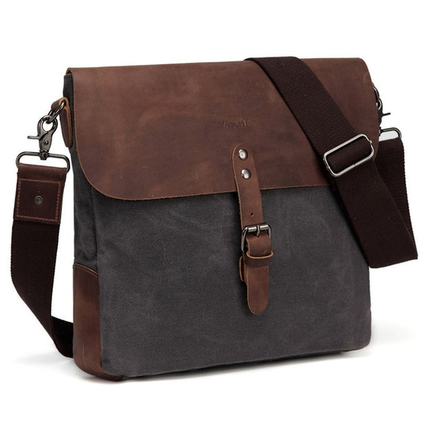 Bag Genuine Leather Waxed Canvas Mens Classic - WaxKraft