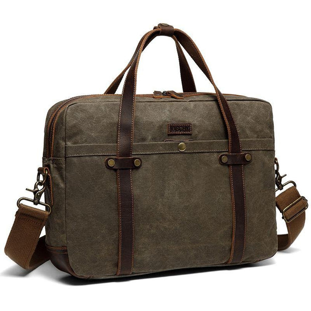 Vintage Waxed Canvas Laptop Messenger - WaxKraft