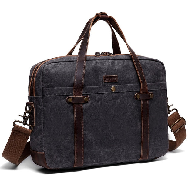 'Old School' Heritage Waxed Canvas Computer Brief Bag - WaxKraft