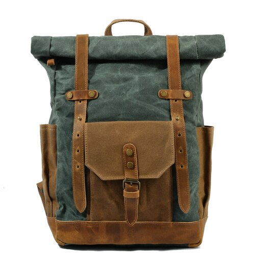 Vintage Canvas waxed Leather Backpack w/Laptop Storage Travel Bag | Canvas and Cotton | All-Purpose Rucksack for Men, Women, - WaxKraft