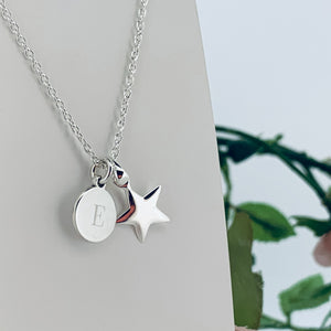 Star Pendant with Personalised Dinky Disc