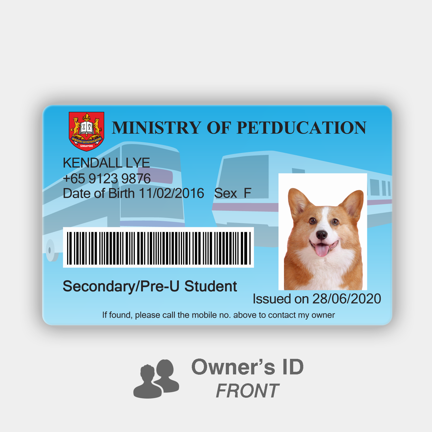 Petducation Secondary/Pre-U Student Pass - Owner's ID (Front)