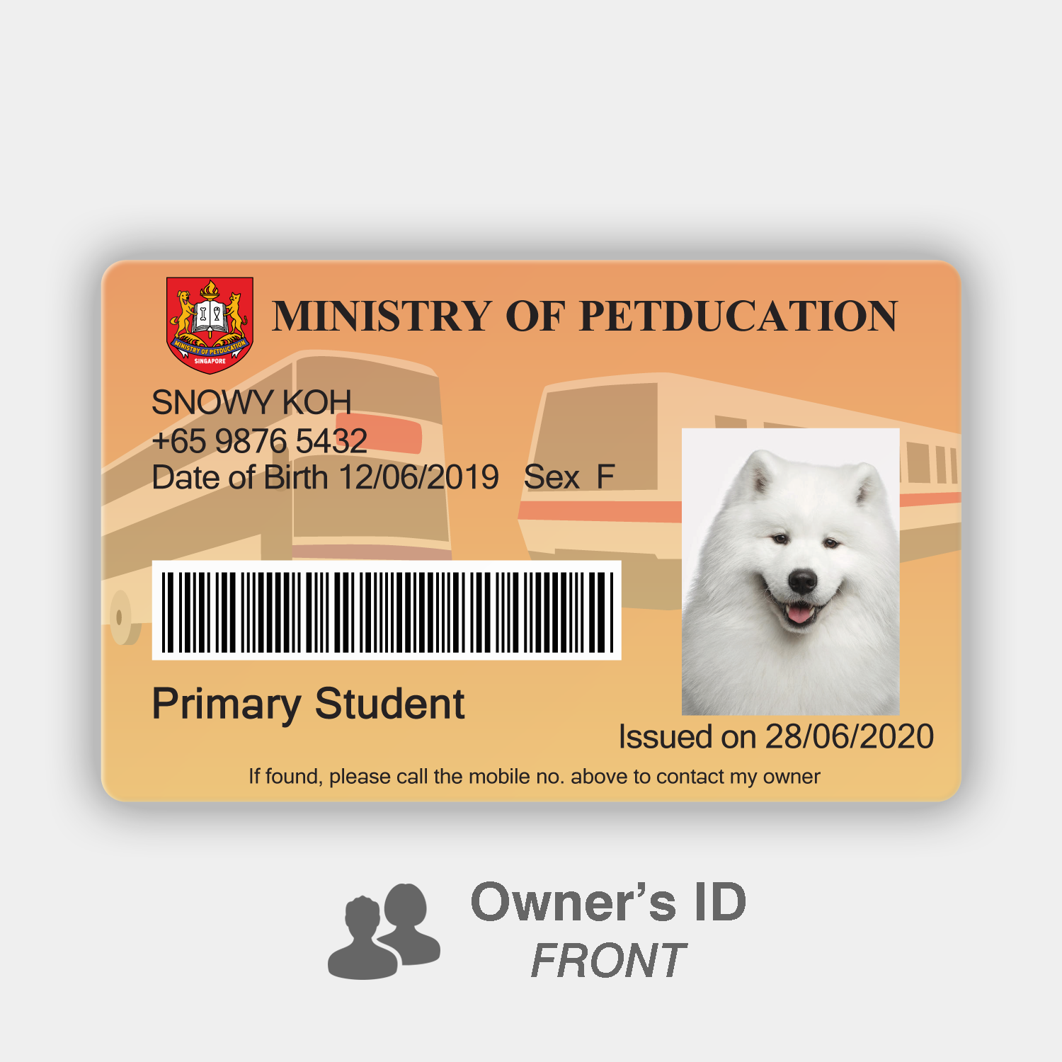 Petducation Primary Student Pass - Owner's ID (Front)