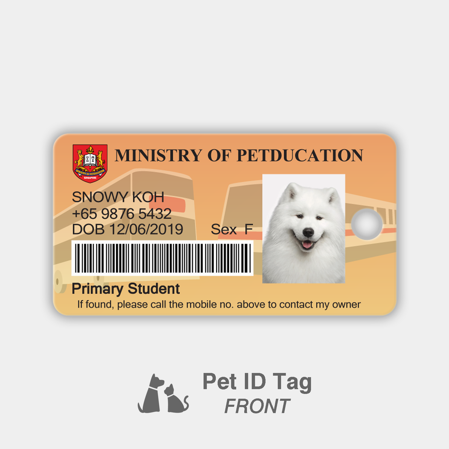 Petducation Primary Student Pass - Pet ID Tag (Front)