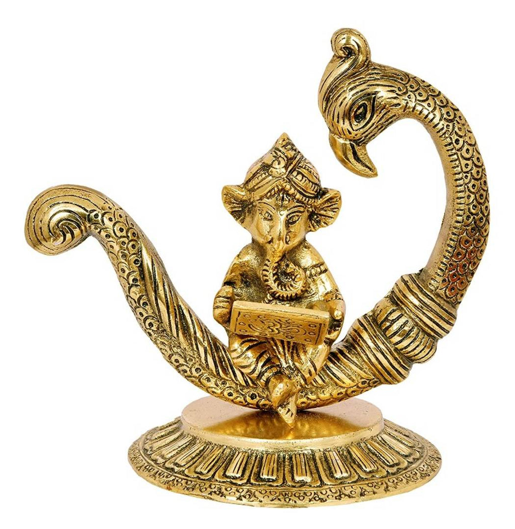 Gold Plated Metal Handicraft New Moon Style Peacock and Ganesha Idol Working On Laptop God Idols Murti Showpiece Statue for Return Gift for Students Study Table for Office Table
