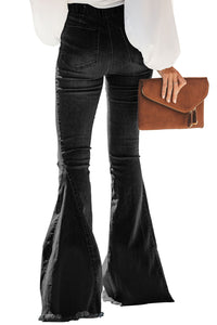 Black Distressed Bell Bottom Jeans