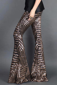 Sequin Wide Leg Pants - Gold & Black