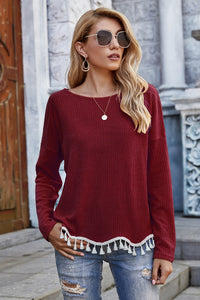 Feelin' the Fringe Sweater in Wine