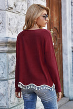 Load image into Gallery viewer, Feelin' the Fringe Sweater in Wine