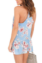 Load image into Gallery viewer, Floral Ruffle Racerback Tank - Blue
