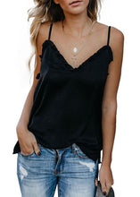 Load image into Gallery viewer, Ruffled V Tank - Black