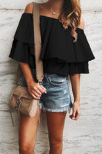 Load image into Gallery viewer, Summer Breeze Ruffle Off-Shoulder Top in Black (restock)