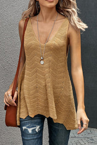 Scalloped Hem Knit Tank - Marigold