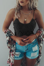 Load image into Gallery viewer, Boho Lace Bralette Crop Top w/ smocked back - Black