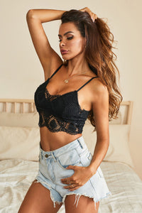 Boho Lace Bralette Crop Top w/ smocked back - Black