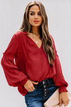 Load image into Gallery viewer, Romantic at Heart V-Neck Blouse with Lantern Sleeves