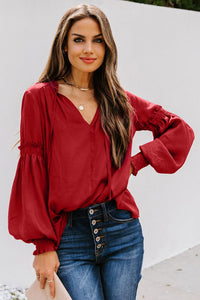 Romantic at Heart V-Neck Blouse with Lantern Sleeves