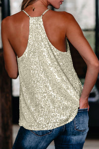 City Lights Racerback Sequin Tee in Apricot