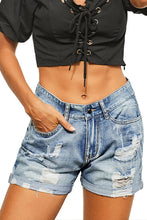 Load image into Gallery viewer, Vintage Wash Distressed Shorts w/ Cuff