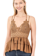 Load image into Gallery viewer, La Boheme Lace Cami with Bra Pads - Camel