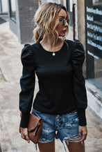 Load image into Gallery viewer, Black Long Sleeve Top with Puff Sleeves