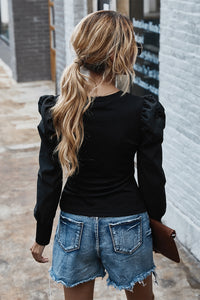 Black Long Sleeve Top with Puff Sleeves