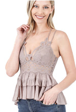 Load image into Gallery viewer, La Boheme Lace Cami with Bra Pads - Taupe