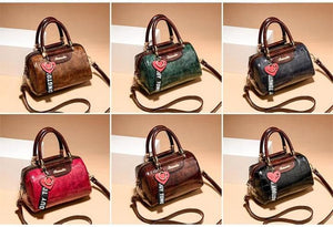 Women Leather Handbag Luxury Designer Brand High Quality Stone Pattern Elegant Zipper Shoulder Bag
