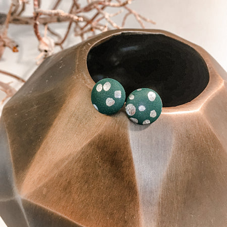 Tortoise Shell, teal with silver dots, silky fabric studs, 12mm or 15mm, gold plated posts
