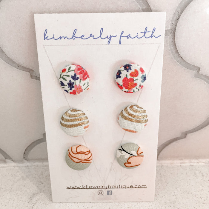 Stud packs, 12mm gold plated studs, fabric inspired buttons, soft pastel and floral patterns