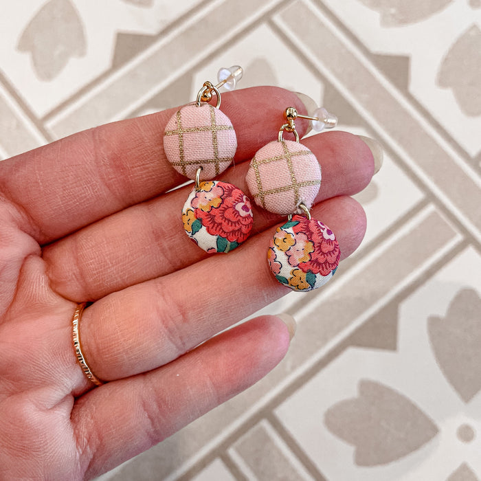 Hyacinth, floral and metallic gold/pink plaid dangles with stud drop.