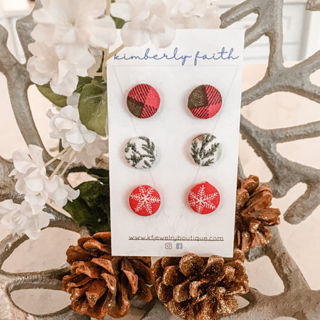Christmas stud pack, 3 x 12mm, gold plated posts, winter, fabric studs
